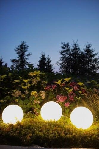 Zestaw dekoracyjne kule ogrodowe - Luna Balls 25, 30, 40 cm + Żarówki Led 3
