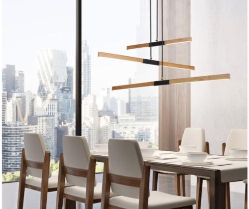 Lampa wisząca drewniana Lugano LED światło skierowane na stół