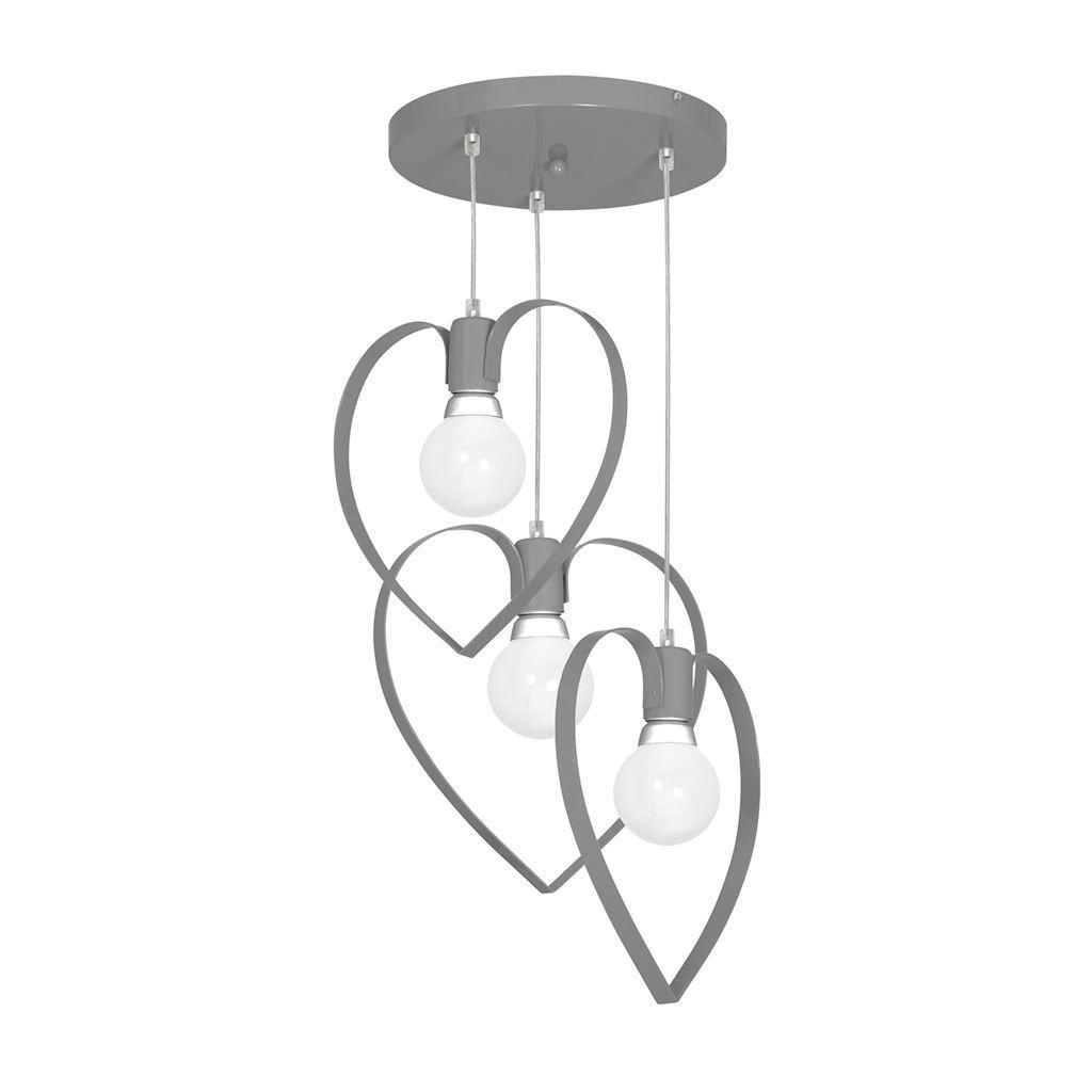 Szara Lampa Sufitowa Amore Grey 3x E27