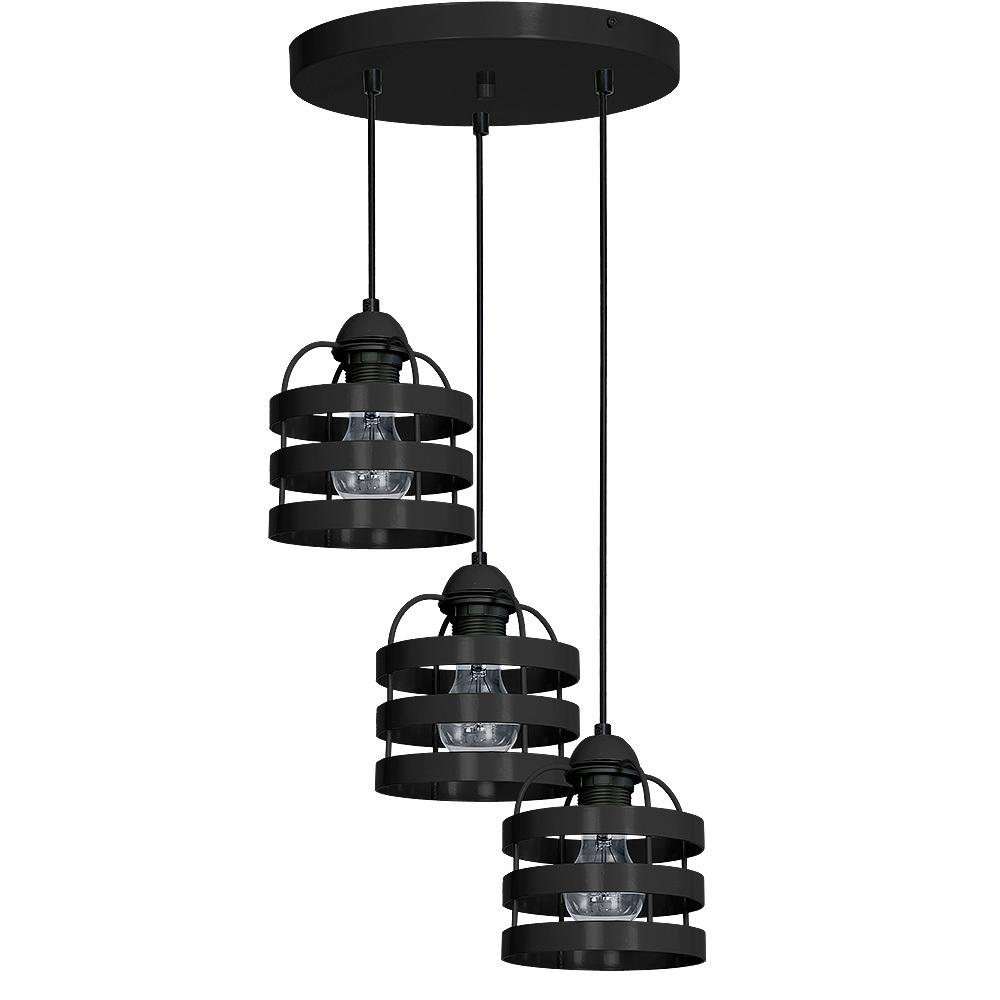 Czarna Lampa Wisząca Lars Black 3x E27