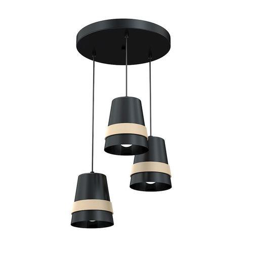 Czarna Lampa Wisząca Venezia Black 3x E27