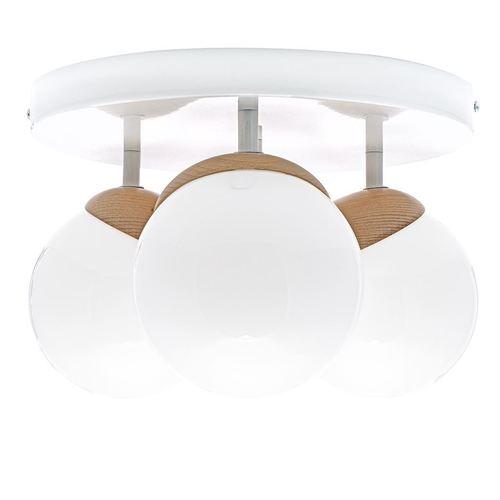 Biała Lampa Sufitowa Sfera Wood 3x E14