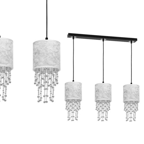 Czarna Lampa Wisząca Almeria Silver/Chrome 3x E27