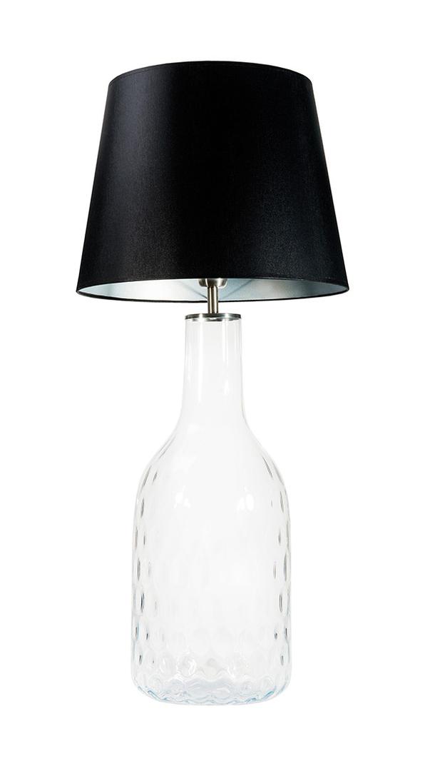 Lampa handmade Famlight Alor Transparent czarny / srebrny E27 60W przezroczysta butelka
