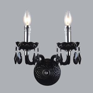 Czarny Klasyczny Kinkiet z Kryształkami Whiz E14 2-punktowy small 1