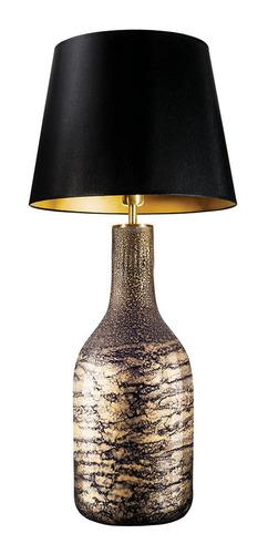 Lampa stołowa z abażurem Famlight Alor black & Gold Shiny E27 60W