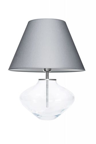 Lampka na komodę Bali Transparent Szary / Biały Famlight E27 60W handmade