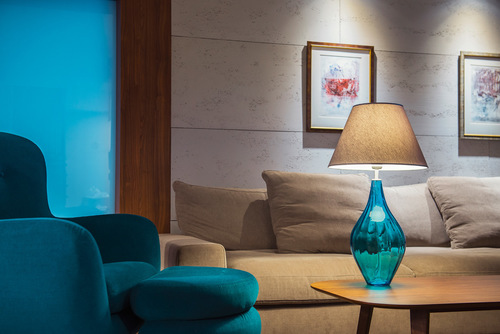 Nowoczesna lampa stołowa Borneo Aquamarine Famlight E27 60W handmade