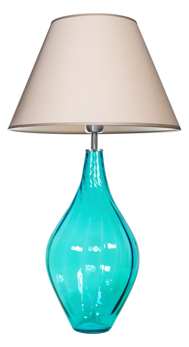 Lampa stołowa szklana Borneo Baltic Green Famlight beż / biały E27 60W