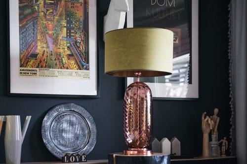 Stylowa lampa stołowa Chloe Lister Brown Famlight E27 60W