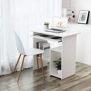Biurko komputerowe białe z wysuwaną półką LCD852W Songmics small 2