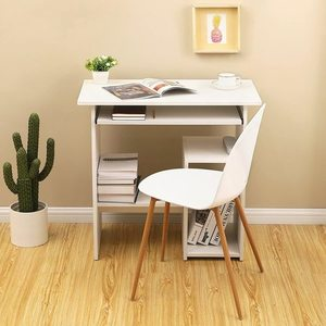 Biurko komputerowe białe z wysuwaną półką LCD852W Songmics small 3