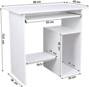 Biurko komputerowe białe z wysuwaną półką LCD852W Songmics small 4