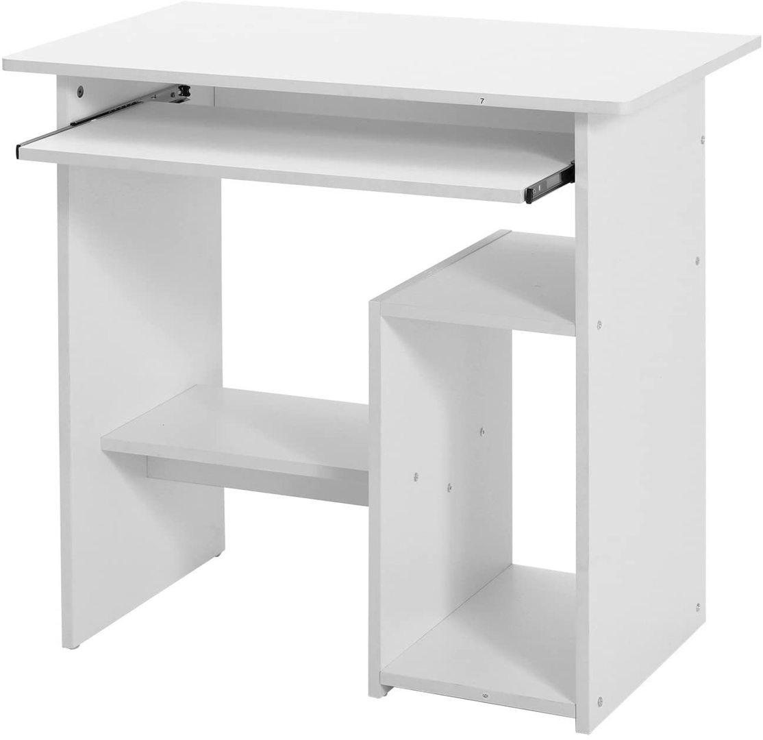 Biurko komputerowe białe z wysuwaną półką LCD852W Songmics