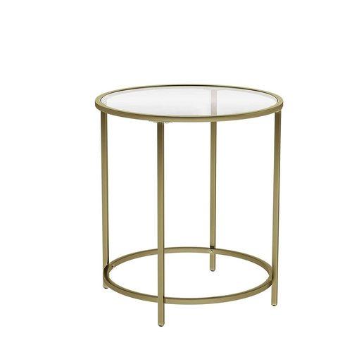 Szklany stolik kawowy na złotym stelarzu LGT20G VASAGLE