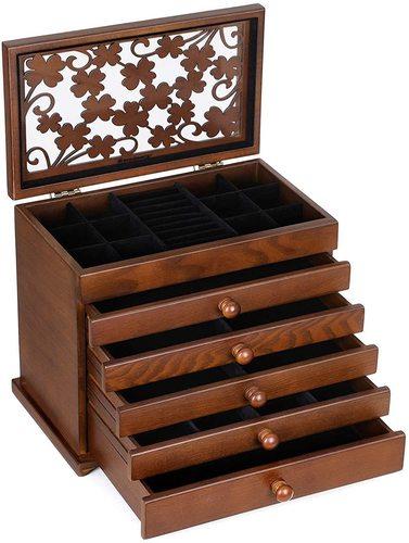Drewniana szkatułka biżuteria JBC56W