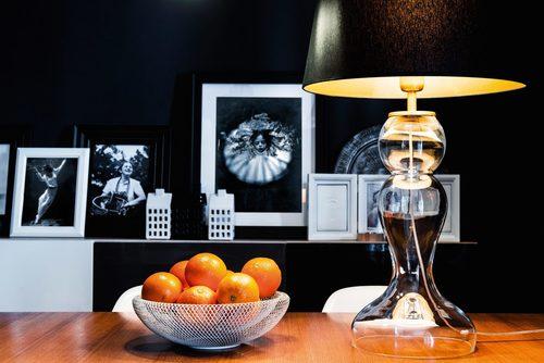 Lampa stołowa wysoka Flores Transparent E27 60W czarny / srebrny mat