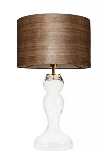 Szklana lampa stołowa Flores Transparent WOOD WALNUT E27 60W mosiądz