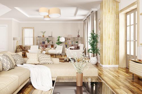 Modna lampa sufitowa - plafon Elements 60W E27 kremowy / biały welur