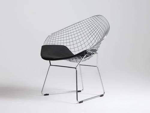 Krzesło DIAMENT - srebrny, poducha biały