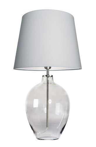 Lampa stołowa stylowa Luzon Gray Famlight jasny szary / biały E27 60W stal nierdzewna