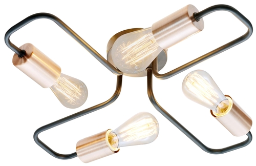Herpe Lampa Sufitowa 4X60W E27 Czarny