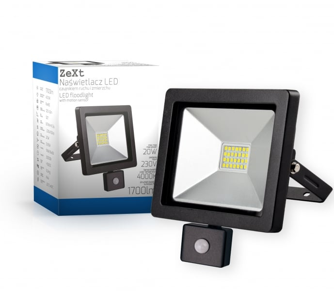 Naświetlacz LED slim z czujnikiem ruchu 20W/230V 6400K PIR