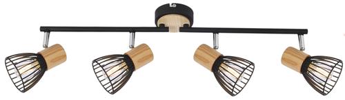 Antica Lampa Sufitowa Listwa 4 X Max 25W E14 Czarny + Drewno
