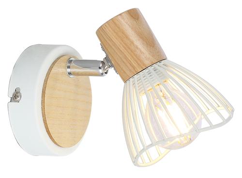 Chile Lampa Kinkiet 1Xmax25W E14 Biały + Drewno