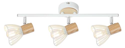 Chile Lampa Sufitowa Listwa 3Xmax25W E14 Biały + Drewno