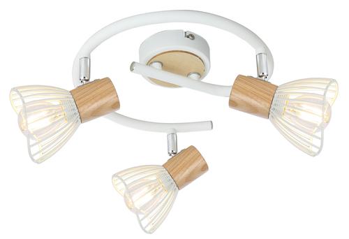 Chile Lampa Sufitowa Spirala 3Xmax25W E14 Biały + Drewno