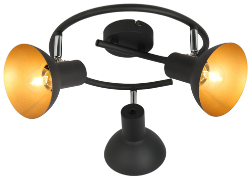 Diso Lampa Sufitowa Spirala 3X40W E27 Czarny+Zloto