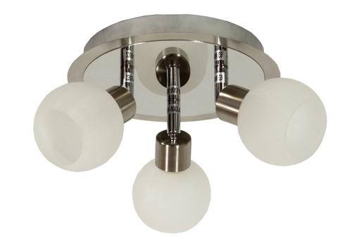Alabaster Lampa Sufitowa Plafon 3X40W G9 Satyna+Chrom