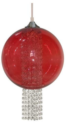 Allani Lampa Wisząca 25 1X60W E27 Czerwony Z Kryształkami