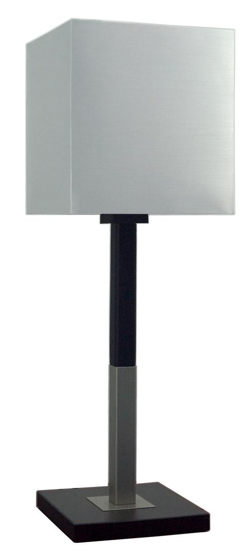 Favorita Lampa Gabinetowa Duża 1X60W E27 Drewno Z Abażurem Srebrnym 23X23H25