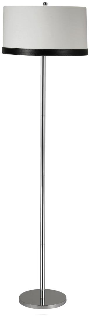 Tida Lampa Podłogowa 1X60W E27 Chrom/Abażur Płótno/Skóra