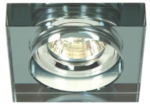 Ss-16 Ch/Bk Mr16 Chrom Oczko Sufitowe  Lampa Sufitowa Stała Kwadratowa Szkło Czarne small 0