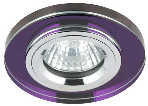 Ss-15 Ch/Pu Mr16 Chrom Oczko Sufitowe  Lampa Sufitowa  Stała Okrągła Szkło Fioletowe