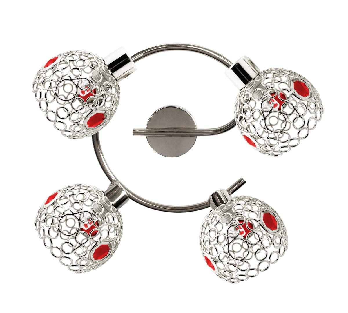 Lampa Aron Spirala 4X40W G9 Chrom Kryształ Czerwony