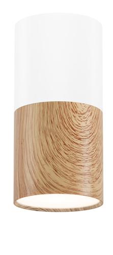 Lampa Sufitowa Tuba 1X50W Gu10 Drewniany+Biały Śr. 5,8 Cm