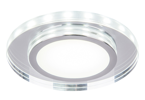 Ssp-26 Ch/Tr+Wh 10W Led 230V Ring Led Biały Oczko Sufitowe  Lampa Sufitowa Okrągła Szlif Szkło Transparentne