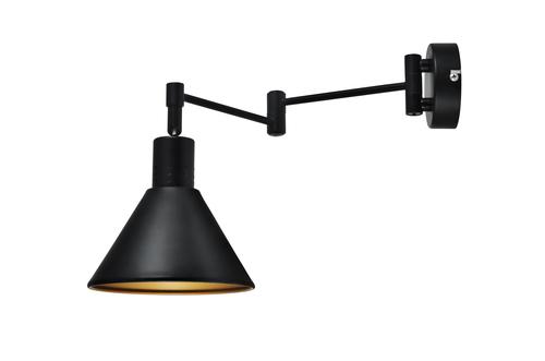 Copenhagen Lampa Kinkiet 1X40W E14 Czarny Śrdek Złoty