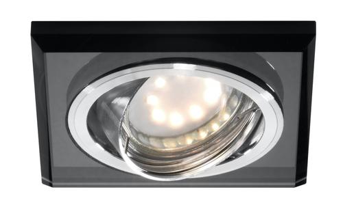 Ssu-13 Ch/Bk Mr16 Chrom  Oczko Sufitowe  Lampa Sufitowa Uchylna  Kwadratowa   Szkło Czarne