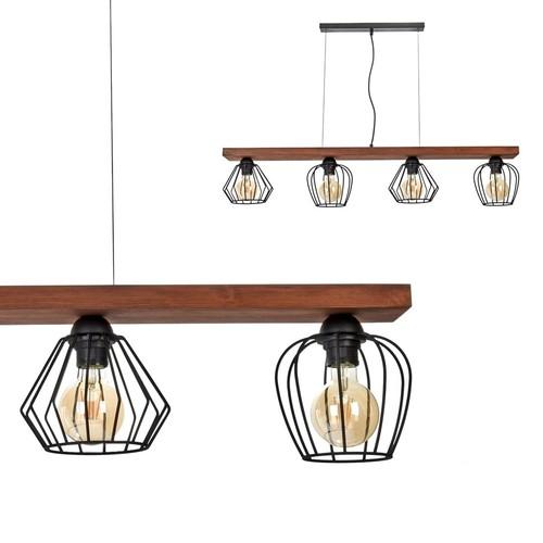Lampa Wisząca Ozzy Black / Wood 4x E27 60 W