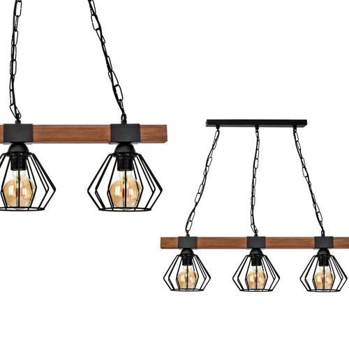 Lampa Wisząca Ulf Black / Wood 3x E27 60 W