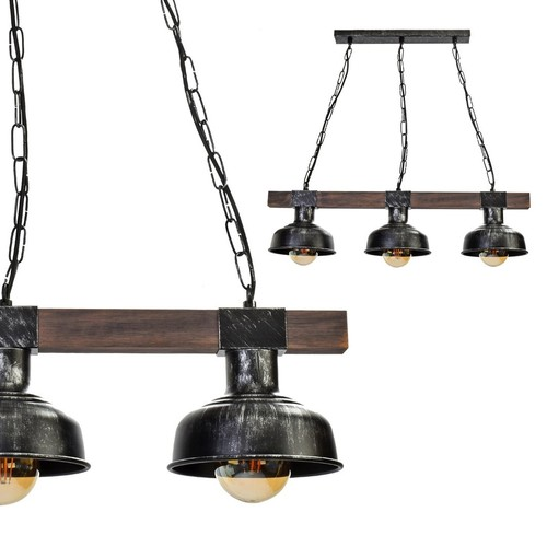 Lampa Wisząca Faro Black / Wood 3x E27 60 W