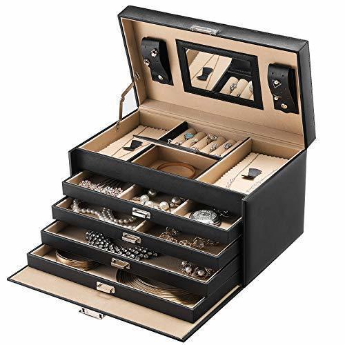 Kuferek na biżuterię z lusterkiem, 5 półek, 4 szuflady, JBC001