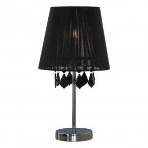 Lampa Mona biurkowa czarna mała Glamour z brylantami