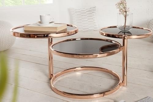 INVICTA stolik rozkładany ART DECO 3 miedziany