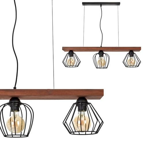 Lampa Wisząca Ozzy Black / Wood 3x E27 60 W